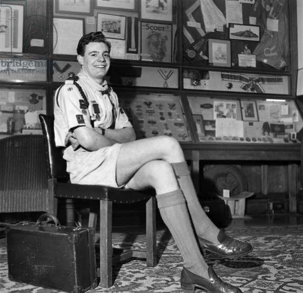 Boy scout David Harrison in his seat inside Westminster Abbey for the Coronation of Queen Elizabeth II.