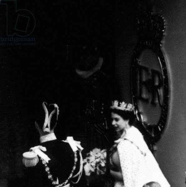 The Coronation of Queen Elizabeth II was the ceremony in which the newly ascended monarch, Elizabeth II, was crowned Queen of the United Kingdom, Canada, Australia, New Zealand, South Africa, Ceylon, and Pakistan, as well as taking on the role of Head of the Commonwealth, (Pictured) Bishops paying homage to the Queen, 2nd June 1953 (b/w photo)