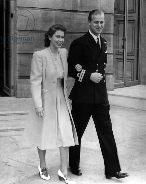 Princess Elizabeth and her fiance Philip Mountbatten announcing their engagement at Buckingham Palace, 1947 (b/w photo)