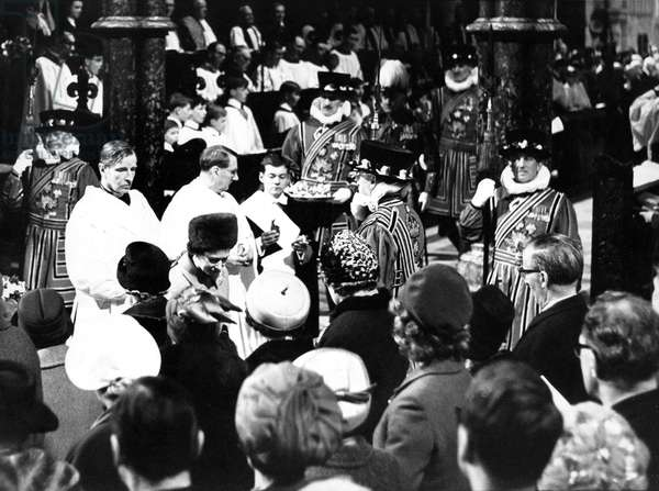Queen Elizabeth II - the Maundy Money Ceremony at Durham Cathedral - the Queen gives out the Maundy Money, 23rd March 1967