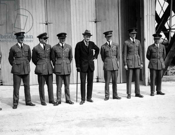 Lord Thomson who was killed in the R101 airship disaster in Northern France, seen here with British Airforce officers.  Circa 1929