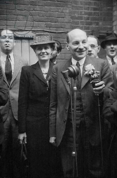 Mr Clement Attlee after Labours election victory, 1945 (b/w photo)