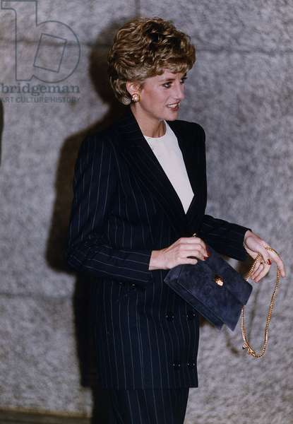 Princess Diana at the Metropole Hotel London to attend European Drug prevention Conference, November 1992 (b/w photo)