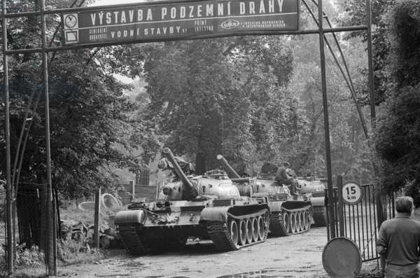 Russian T54 tanks parked in a suburb of Prague following the Warsaw Pact invasion of the country, 1968 (b/w photo)