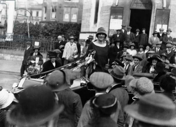 Lady Nancy Astor, Conservative candidate for Sutton, Plymouth, 1924 (b/w photo)