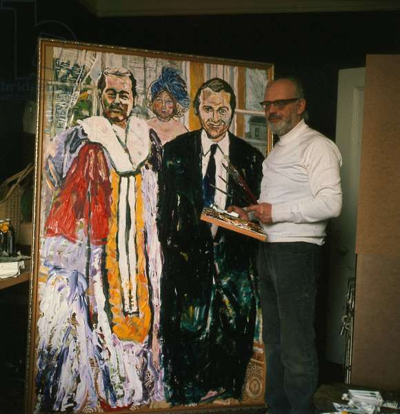 John Bratby artist, painting picture of John Stonehouse and Lord Lucan, March 1975 (photo)