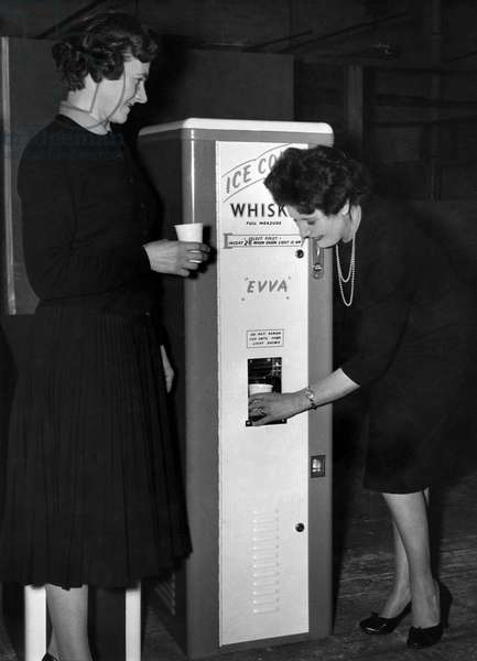 Whisky and ice vending machine, February 1960