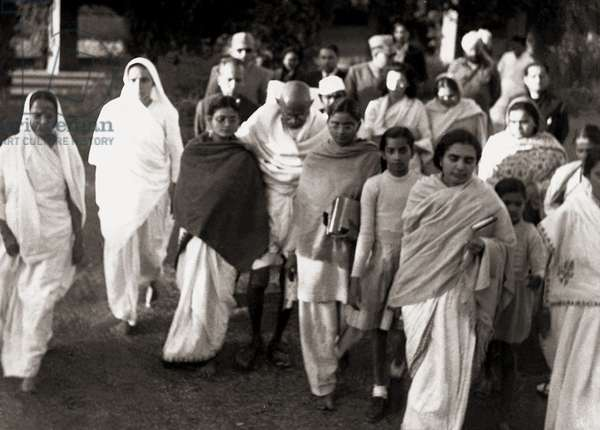 Mahatma Gandhi pictured with Followers shortly before he was Killed, c.1948 (b/w photo)