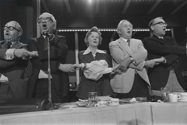 Ian Mikado, Barbara Castle and Harold Wilson join hands to sing Auld Lang Syne, 1975 Labour Party Conference, 1975 (b/w photo)