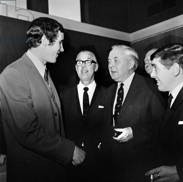 British Prime Minister Harold Wilson meets Liverpool footballer Ron YeatsDecember 1969 (photo)