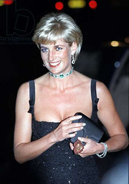 Princes Diana smiling in London for a gala evening sponsored by Chanel, July 1 1997 (b/w photo)