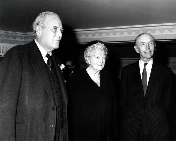 Baroness Spencer-Churchill ( Lady Churchill ), Mr Randolph Churchill (left) and Sir Alec Douglas-Home pictured at the Dorchester Hotel, London, prior to The Foyles Literary Luncheon. The event was to mark the publication of Randolph Churchill's book 'Winston S Churchill - Vol 1 Youth (1874-1900)'. 27/10/1966 (b/w photo)
