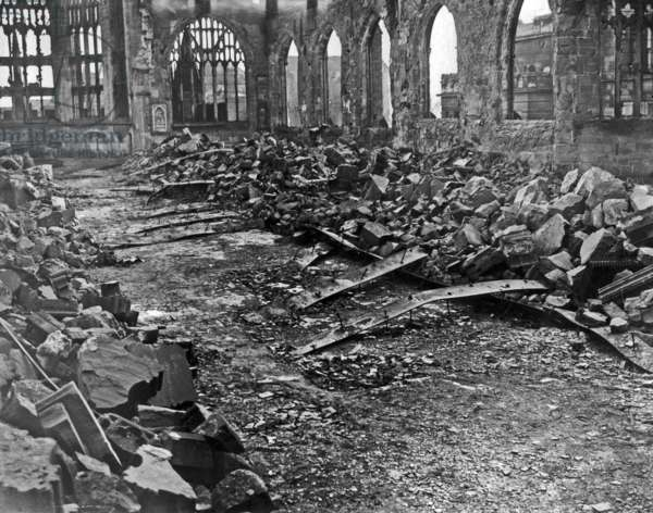 Coventry Cathedral as it looked on the morning of 15th November 1940 (b/w photo)