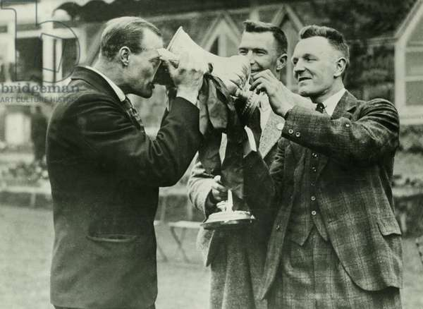 FA Cup Final 1929 Bolton v Portsmouth  Seddon takes a cheerful draught watched by Dick Pym and Harold Blackmore