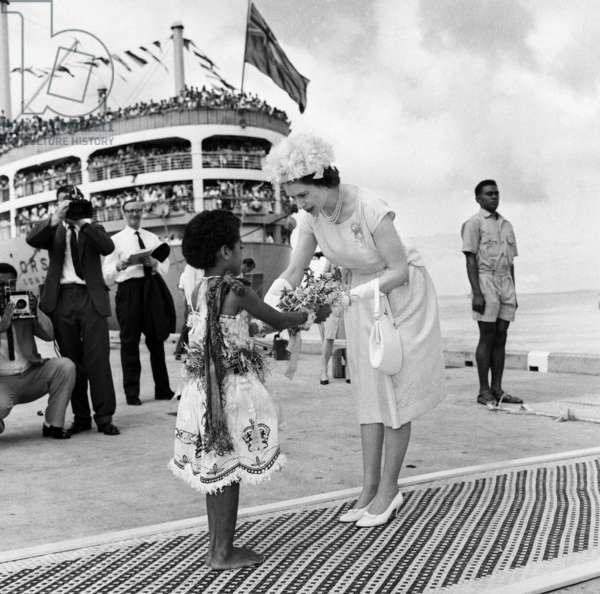 The Queen in Fiji, Coronation Tour, 1977 (b/w photo)