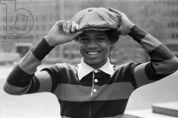 The Jackson Five pop group pictured at Hyde Park Corner: pictured is the youngest member of the Jackson Five, 15-year-old Randy, 19th May 1977 (b/w photo)
