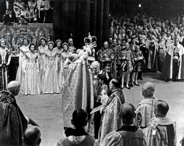 Coronation of Queen Elizabeth II, 3rd June 1953 (b/w photo)