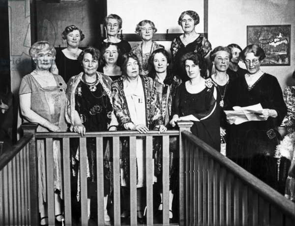 Sylvia Pankhurst attending a dinner with fellow Suffragettes, February 1928 (b/w photo)