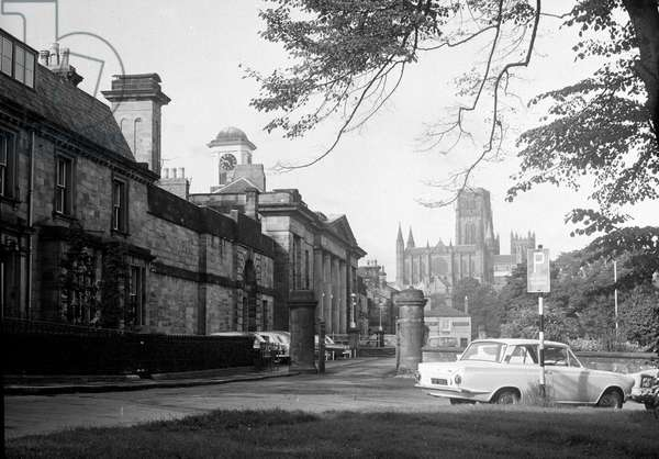 Exterior view of Durham Prison with the cathedral in the background, September 1965 (b/w photo)