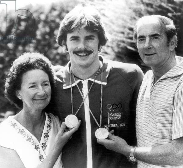 David Wilkie, Olympic Champion, 200 metre breaststroke, Montreal Olympics, Canada, July 1976 (b/w photo)