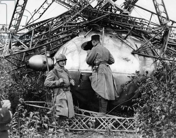 French soldiers at the scene of the crash of the British airship R101 in the French village of Beauvais October 1930