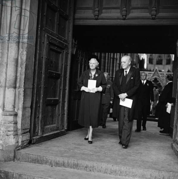 Battle of Britain Remembrance day No. 25. Mrs Winston Churchill and her son Randolph, behind is Mr Wilson. 19th September 1965 (b/w photo)