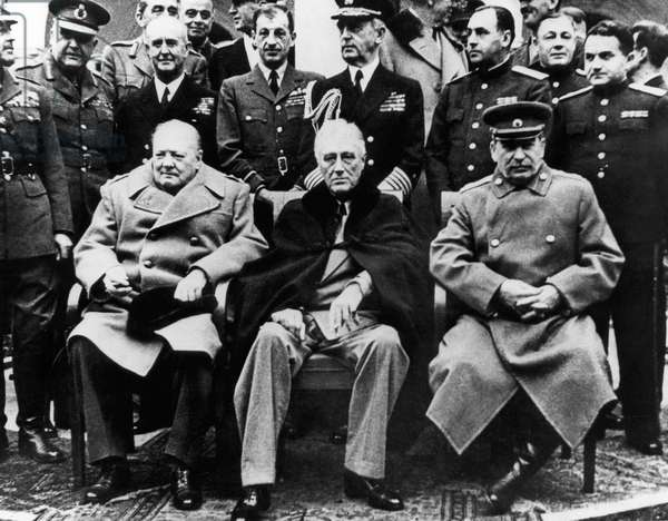 Winston Churchill PM with Franklin Roosevelt and Joseph Stalin at the Yalta Conference. February 4 to 11, 1945 (b/w photo)
