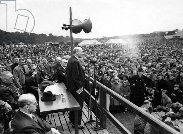 Durham Miners Gala, Clement Attlee speaks to the rally, 18th July 1953 (b/w photo)
