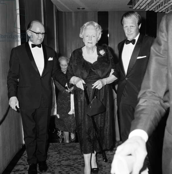 """""""Young Winston"""" film premiere at the Odeon Leicester Square and The Leicester Square Theatre. Lady Churchill with her grandson Winston Churchill (right). 20th July 1972 (b/w photo)"""