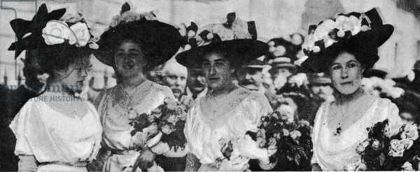 Winston Churchill and Clementine Hozier wedding 12th September 1908Four of the bridesmaids left to right Miss Madeleine Whyte, Miss Claire Frewen, The Hon Venetia Stanley and Miss Horatia Seymour (b/w photo)