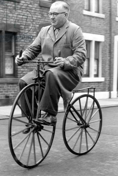 Mr. Ernest Sander on his 1860 boneshaker