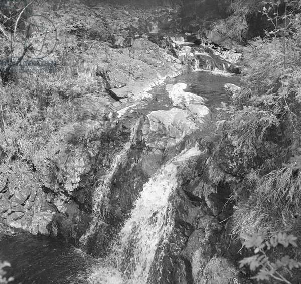 "A typical ""burn' or stream in the Scottish Highlands. The water fell as rain high on the mountains and is filter by heather moor and peat bog to produce this pure soft water that goes to make Scotch Whisky. Circa 1948"