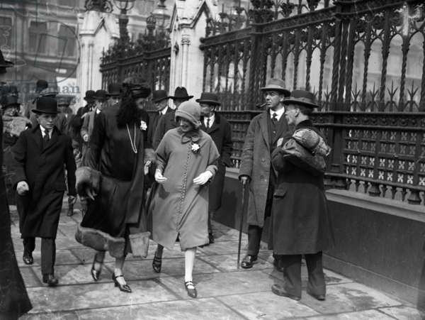 Lady Churchill and her children on their way to hear Winton Churchill's first budget speech as Chancellor of the Exchequer, London, Wednesday 29th April 1925 (b/w photo)