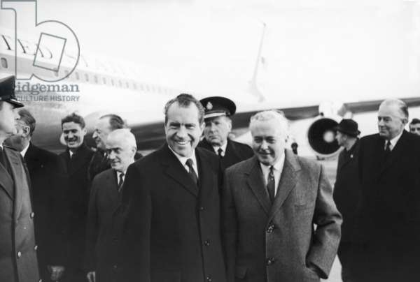 President Richard Nixon and Prime Minister Harold Wilson at Heathrow Airport, 24th February 1969 (b/w photo)