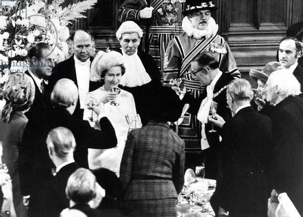 Queen Elizabeth II and Prince Philip celebrate their silver wedding anniversary by being toasted at the Guildhall in London during the silver wedding anniversary celebrations, 20th November 1972