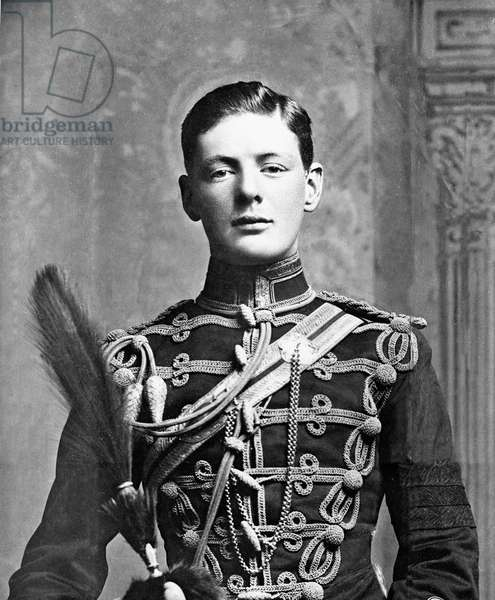 Winston Churchill as a Lieutenant in the 4th Queen's Own Hussars, 1895 (b/w photo)