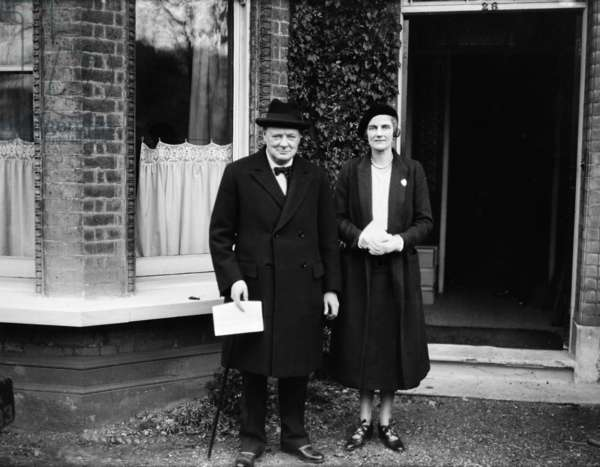 Chancellor of the Exchequer Winston Churchill poses with his wife Clementine.Circa 1929 (b/w photo)