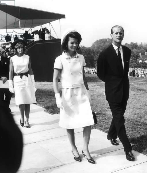 Jackie Kennedy with Prince Philip at Runnymede for the Kennedy Memorial Stone ceremony, May 1965 (b/w photo)