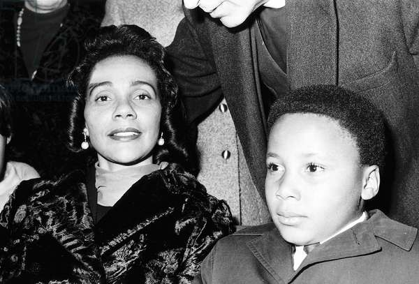Mrs Correta King with her son Martin Luther King widow of Dr Martin Luther King, 18/03/1969 (b/w photo)