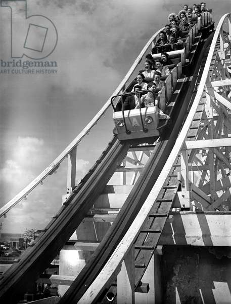Holidaymakers on the Big-dippa at Blackpool, 5th August 1958 (b/w photo)