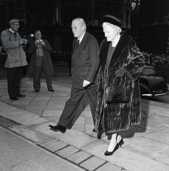 Lady Churchill and Randolph Churchill arriving at the Kennedy Memorial service at St Paul's Cathedral. 1st December 1963 (b/w photo)