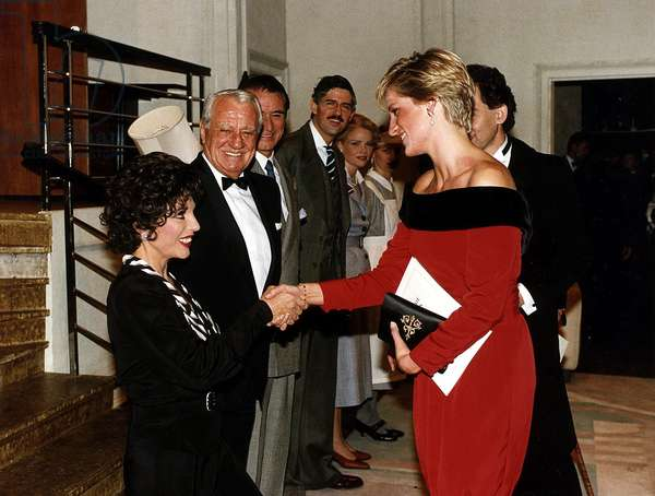 Joan Collins Actress shakes hands with Princess Diana after a charity performance of the play Private Lives, September 1990 (photo)