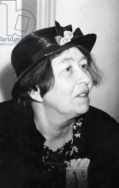 Portrait of Miss Sylvia Pankhurst, an English campaigner for the suffragette movement and, later, an activist in the cause of anti-fascism, May 1938 (b/w photo)