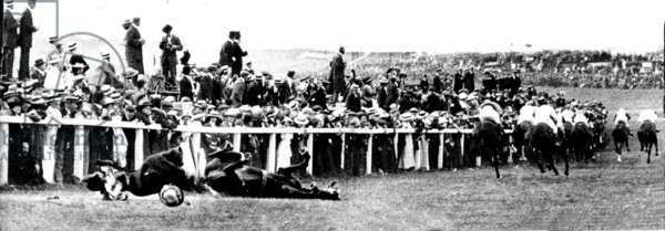 Suffragette Emily Davison throws herself in front of the King's Horse at the Epsom Derby, 4th June 1913 (b/w photo)