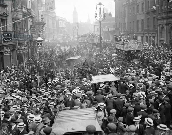 Charing Cross Road after Miss Sylvia Pankhurst was re-arrested after recovering from her hunger strike, 1913 (b/w photo)