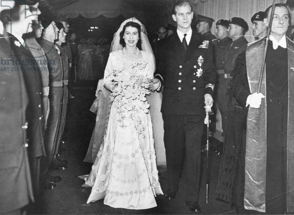 Princess Elizabeth and Prince Philip leaving Westminster Abbey after their marriage, 1947 (b/w photo)