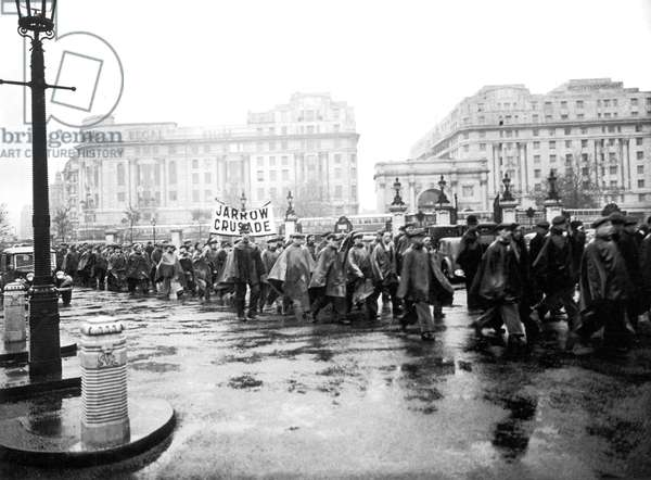 Jarrow marchers seen here arriving at Marble Arch on the last leg of the march 31st October 1936 (b/w photo)