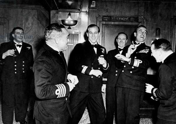 Philip Mountbatten the night before his wedding to the Queen with Naval friends and his uncle. 20th November 1947.