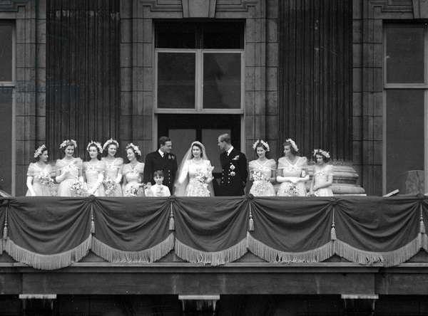 Princess Elizabeth and Prince Philip, Royal Wedding, 20th November 1947 (b/w photo)