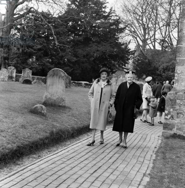 The Christening of Jennie Churchill, Newick Parish Church. Jennie Churchill daughter of Winston S. Churchill (Randolph's son and Grandson of Winston Churchill). Present were Lady Churchill, her son Randolph Churchill and his daughter Arabella. On the right is Lady Churchill. 12th March 1967 (b/w photo)
